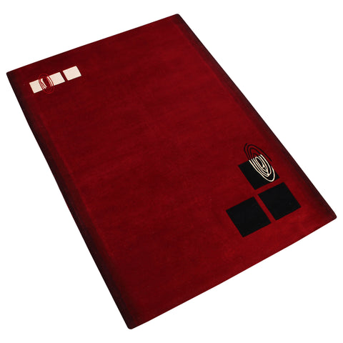 MAROON BLACK SOLID HAND TUFTED RUG