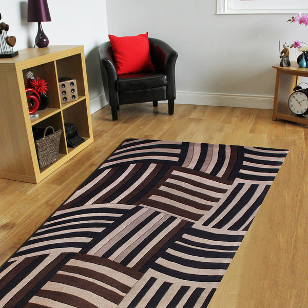 GREY BROWN BLACK ANIMAL PRINT HABD TUFTED RUG