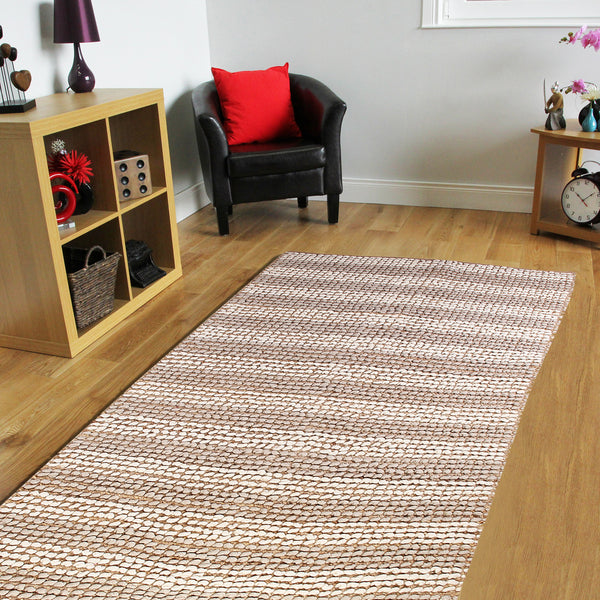 BROWN BEIGE WHITE BRAIDED DURRIE RUG