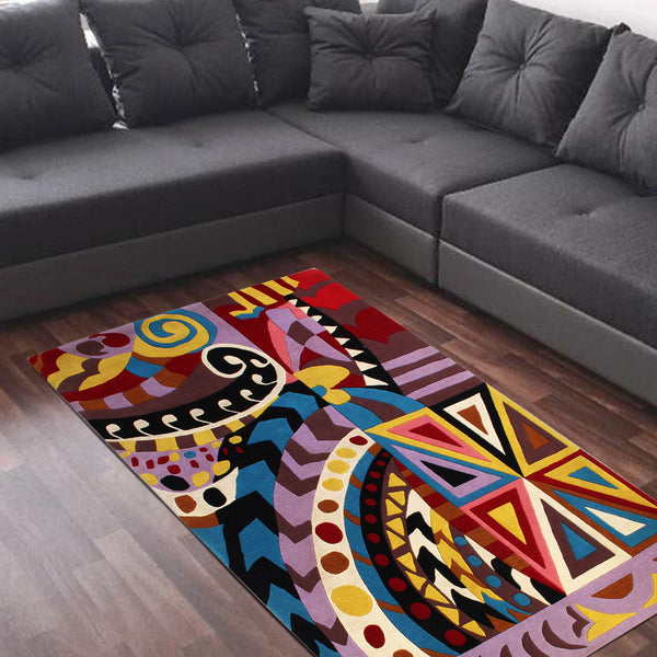 PURPLE MULTI COLOR ABSTRACT HAND TUFTED RUG
