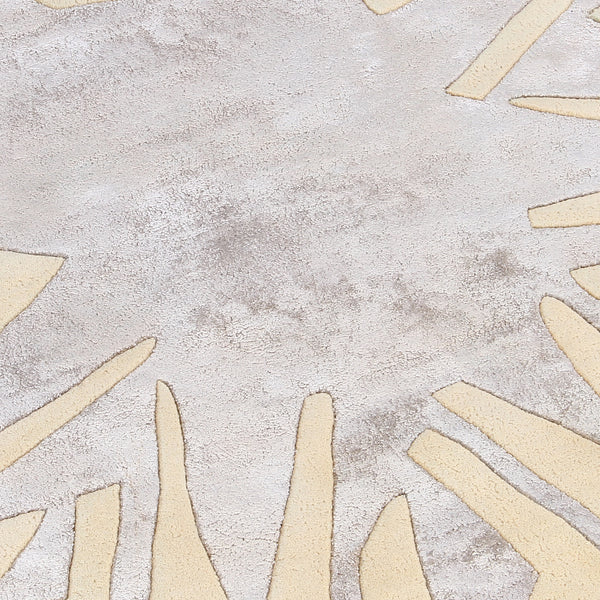 BEIGE GREY GEOMETRIC HAND TUFTED RUG