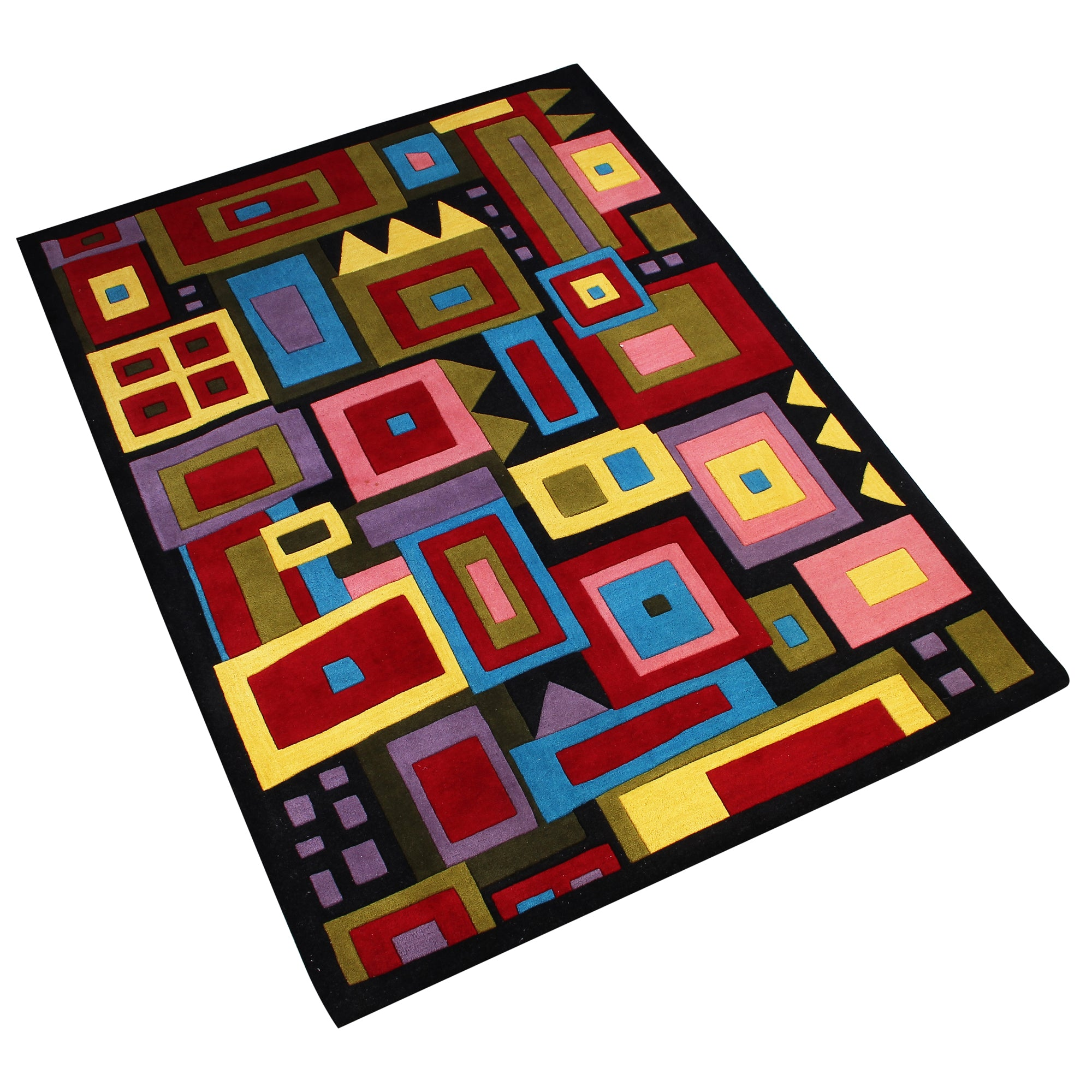 BLACK MULTI COLOR GEOMETRIC HAND TUFTED RUG