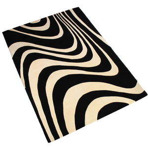 BEIGE BLACK ZEBRA ANIMAL PRINT HAND TUFTED RUG