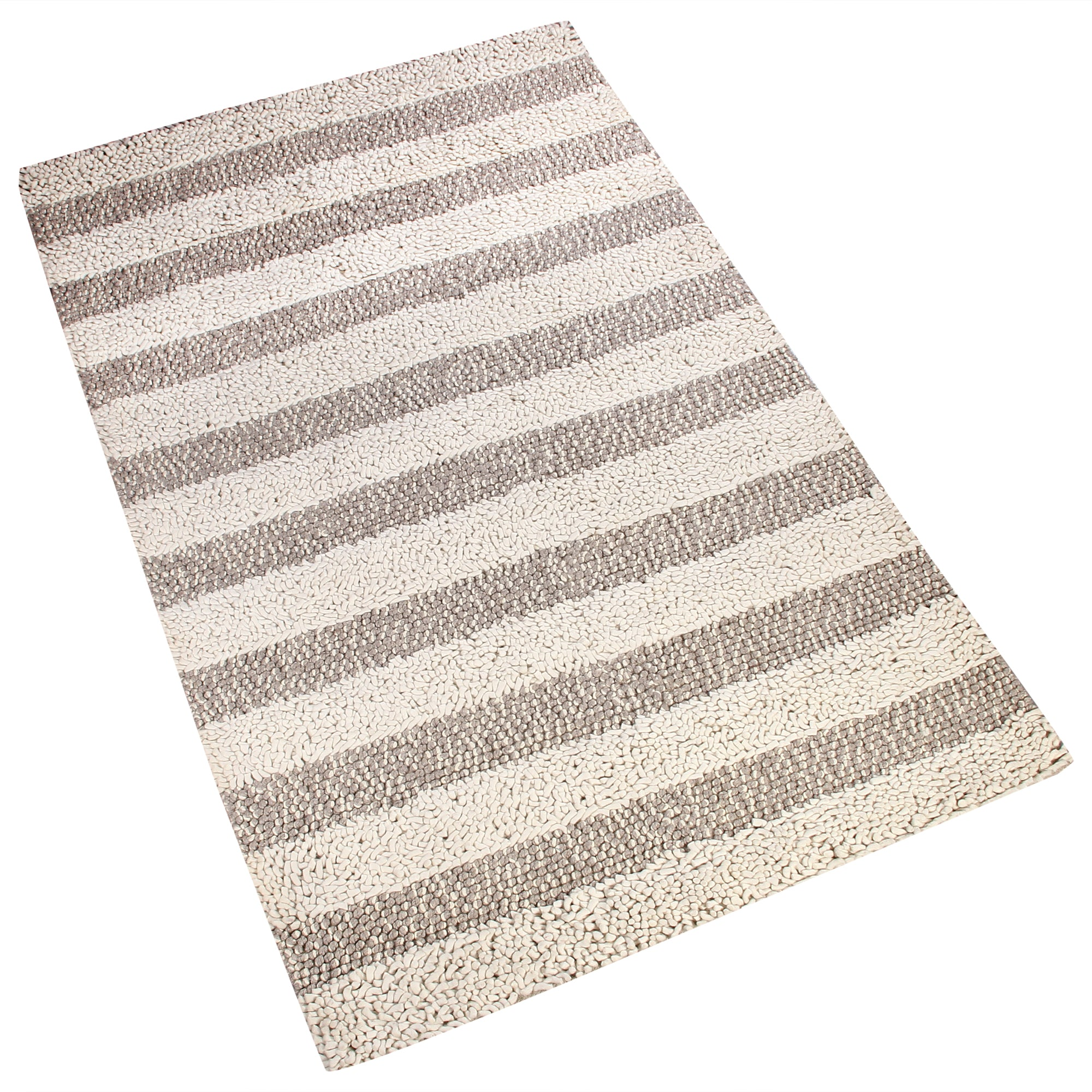 BEIGE BROWN BRAIDED SHAGGY HORIZONTAL DESIGN HAND TUFTED RUG
