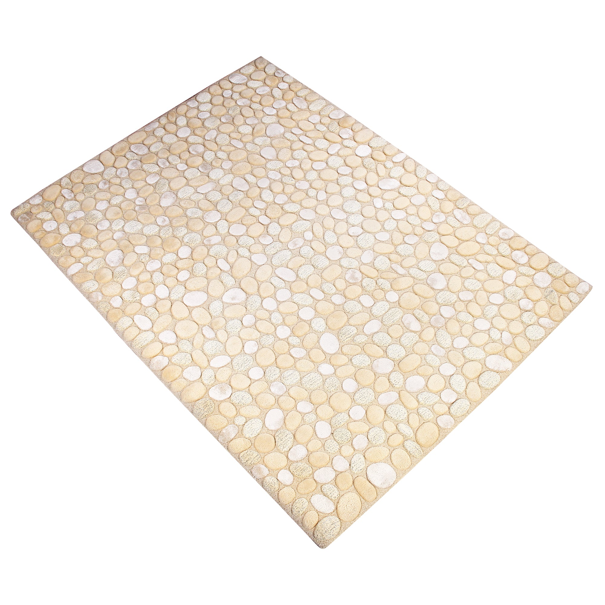 BEIGE WHITE GREEN EMBOSSED PEBBLE DESIGN HAND TUFTED RUG