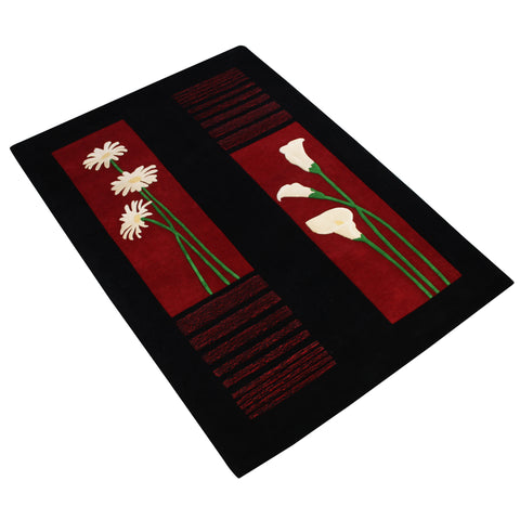 BLACK MAROON FLORAL HAND TUFTED RUG