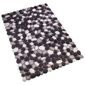 BLACK GREY WHITE EMBOSSED PEBBLE DESIGN HAND TUFTED RUG