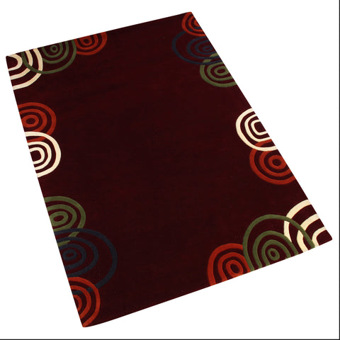 MAROON MULTI COLOR GEOMETRIC HAND TUFTED RUG