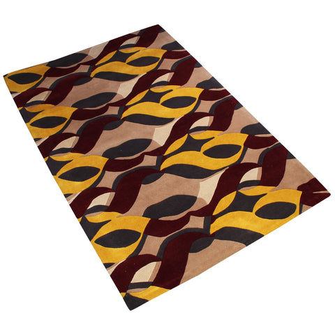 BEIGE MAROON YELLOW GREY ABSTRACT HAND TUFTED RUG