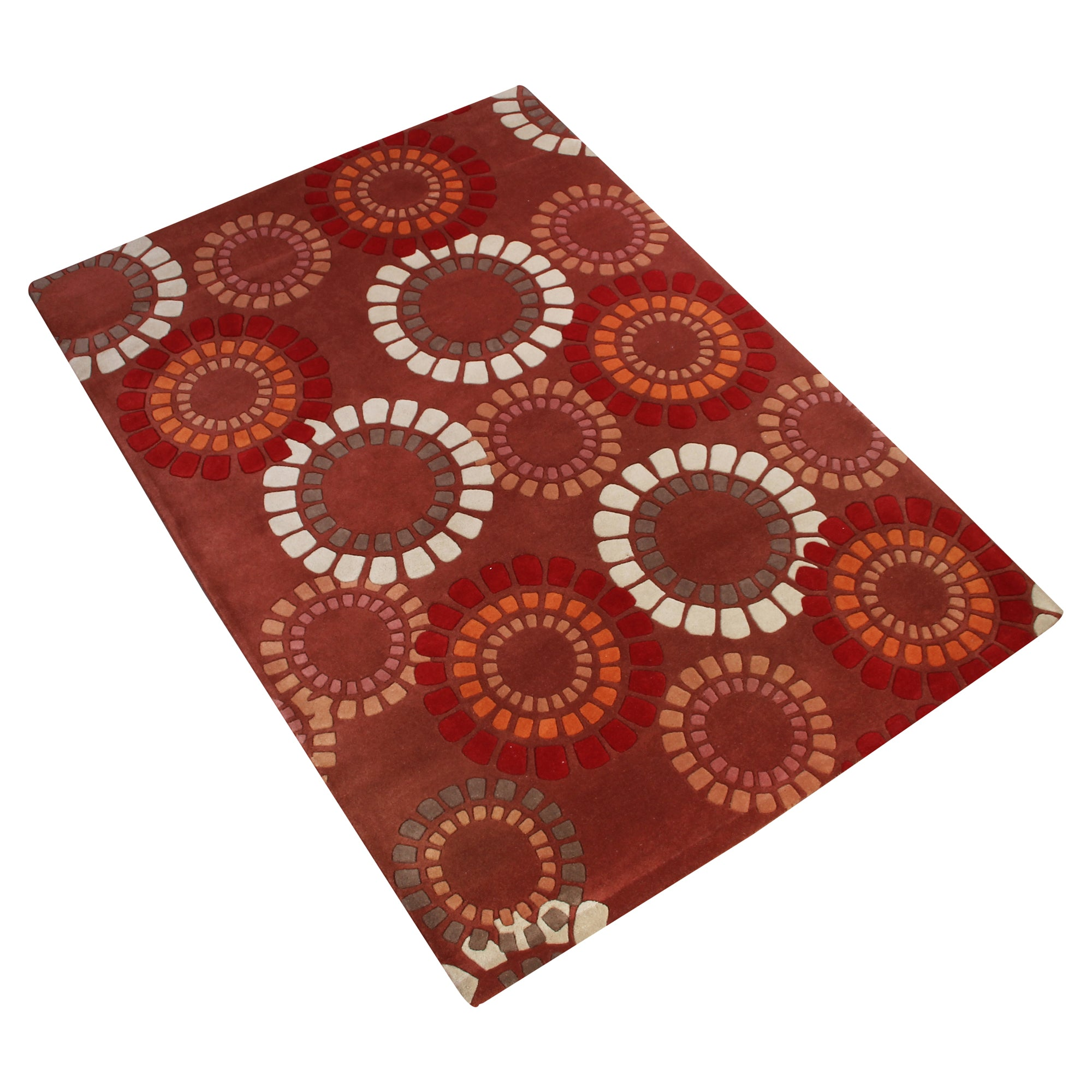 BROWN RUST MULTI COLOR FLORAL GEOMETRIC HAND TUFTED RUG