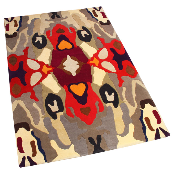 BEIGE GREY MULTI COLOR ABSTRACT HAND TUFTED RUG