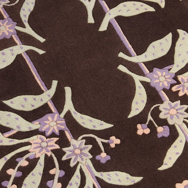 BROWN PURPLE FLORAL HAND TUFTED