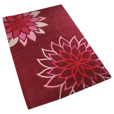 MAROON PINK FLORAL HAND TUFTED RUG