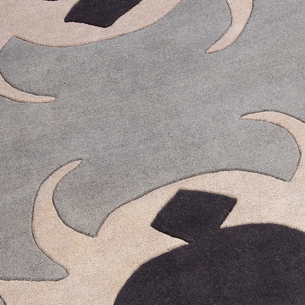 BEIGE GREY BLACK EMBOSSED ABSTRACT HAND TUFTED RUG