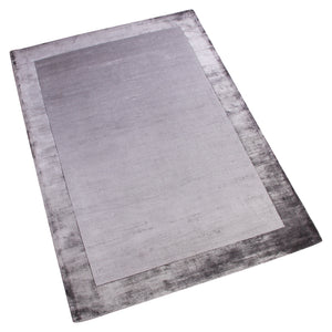 GREY SOLID BORDER DESIGN HAND TUFTED RUG