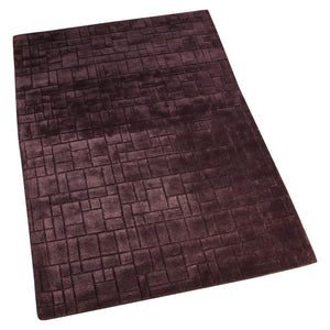 BURGANDY GEOMETRIC BLOCK DESIGN HAND TUFTED RUG