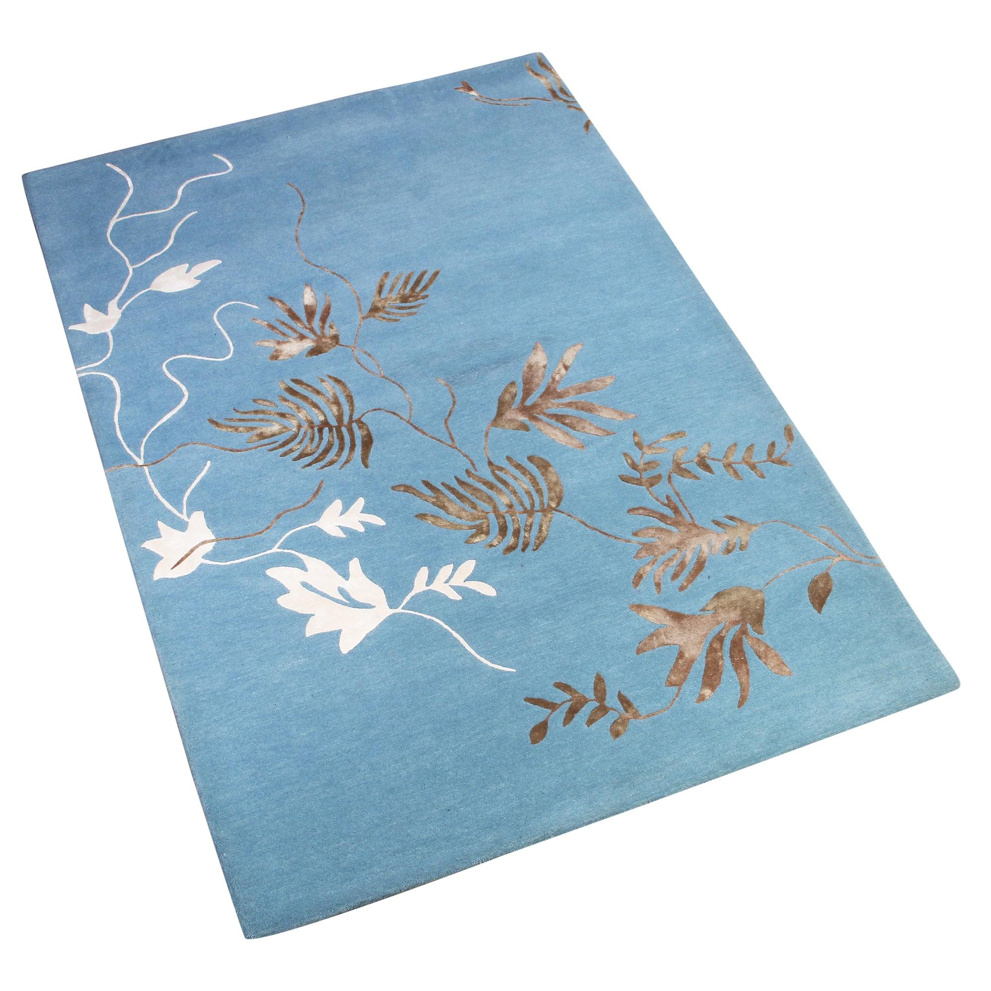 BLUE BROWN WHITE FLORAL HAND TUFTED RUG