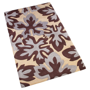 BEIGE/BLACK BROWN GREY FLORAL EMBOSSED HAND TUFTED RUG