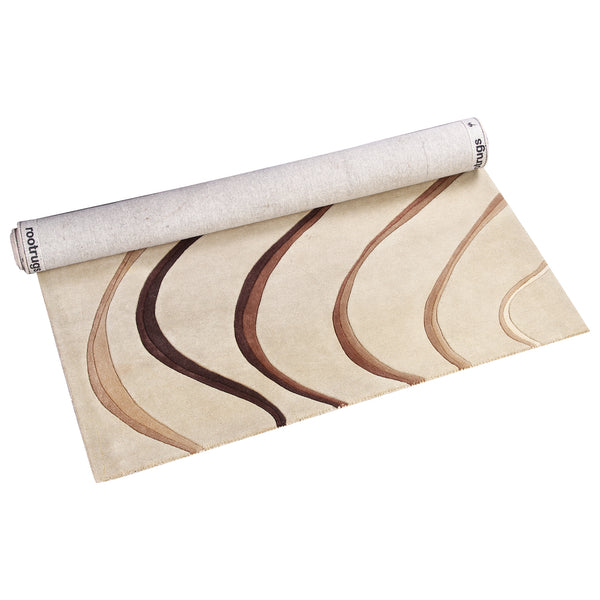 BEIGE BROWN ABSTRACT HAND TUFTED RUG