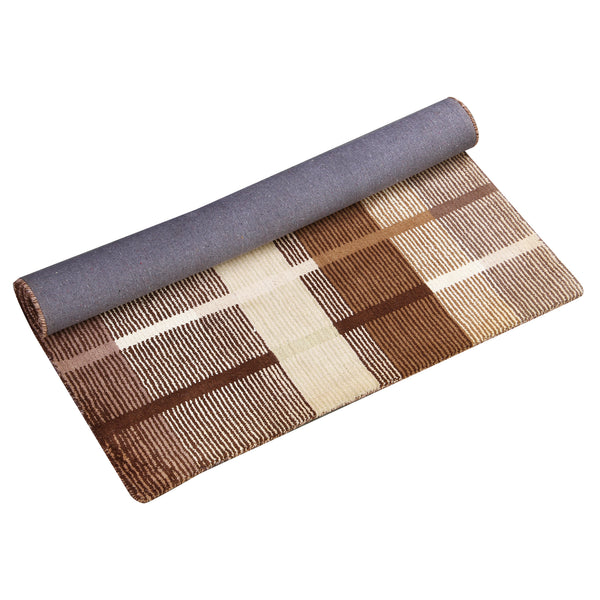 BROWN BEIGE NEUTRAL VERTICAL HORIZONTAL STRIPES HAND TUFTED RUG