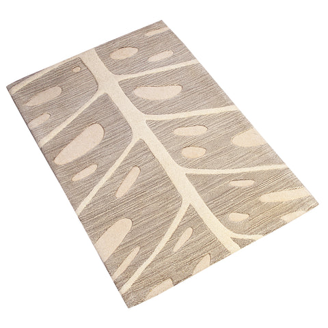BEIGE BROWN NEUTRAL NATURE PRINT HAND TUFTED RUG