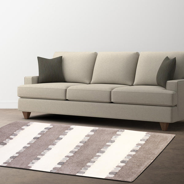 BROWN WHITE HORIZONTAL STRIPES HAND TUFTED RUG