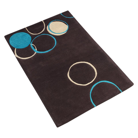 BLACK GEOMETRIC HAND TUFTED RUG