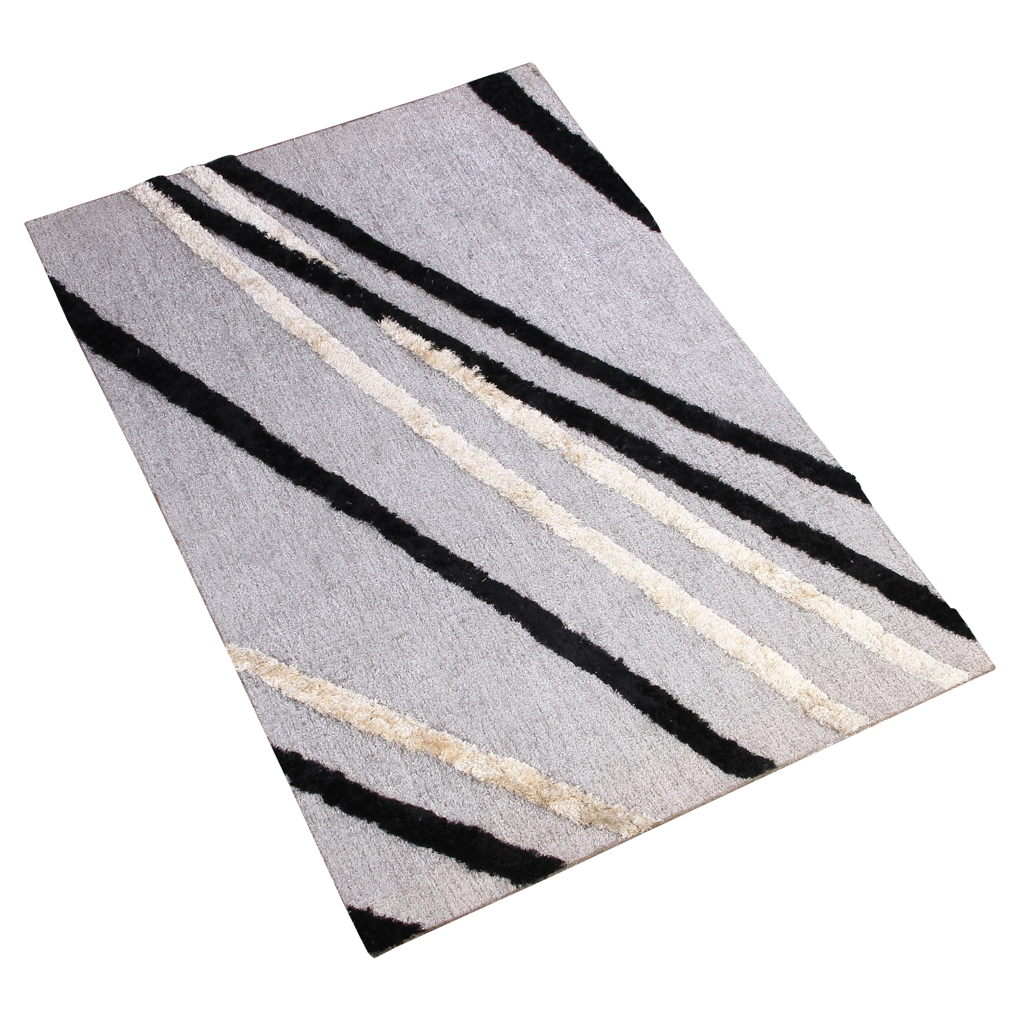 GREY WHITE BLACK ABSTRACT HAND TUFTED RUG