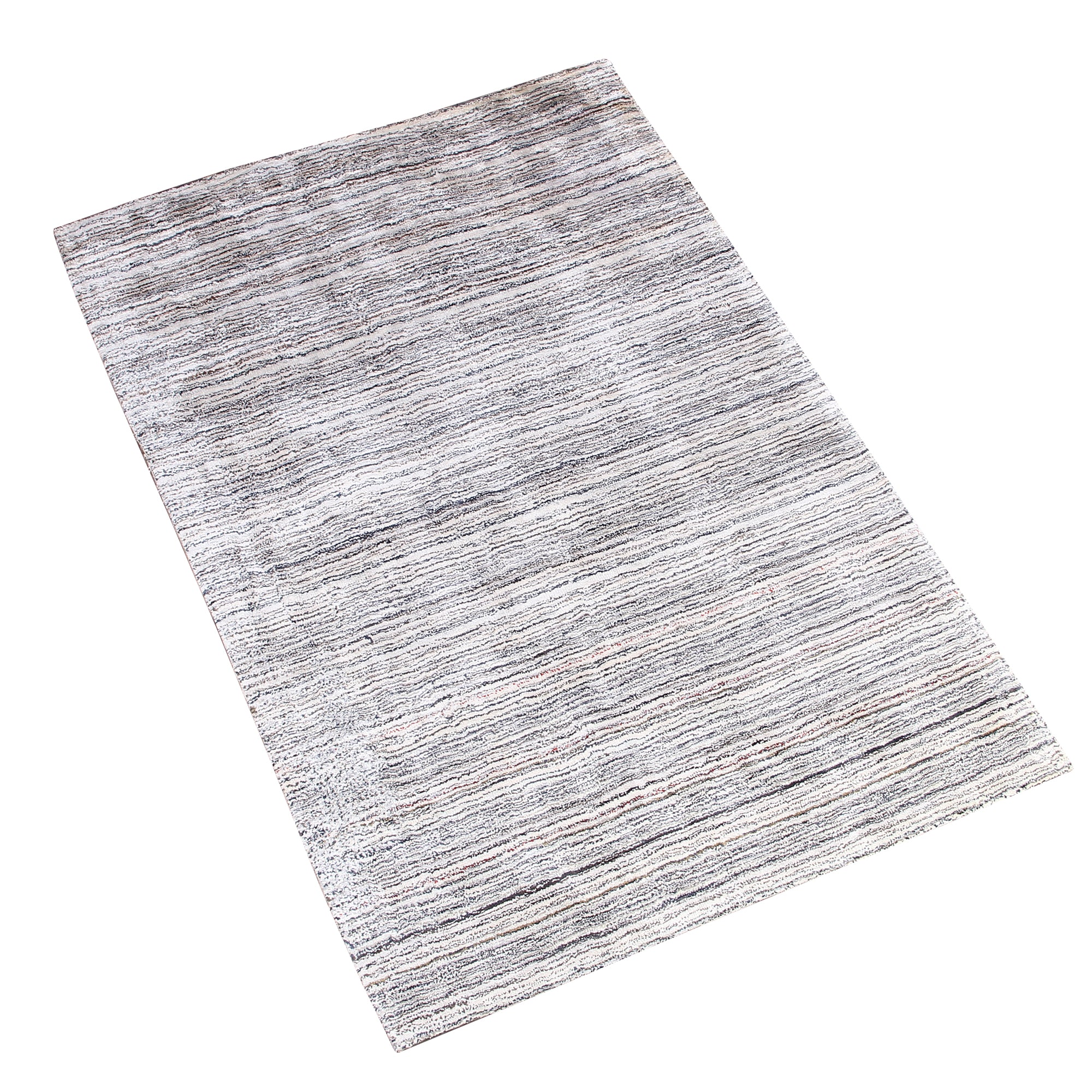 WHITE BLUE HORIZONTAL STRIPES HAND TUFTED RUG
