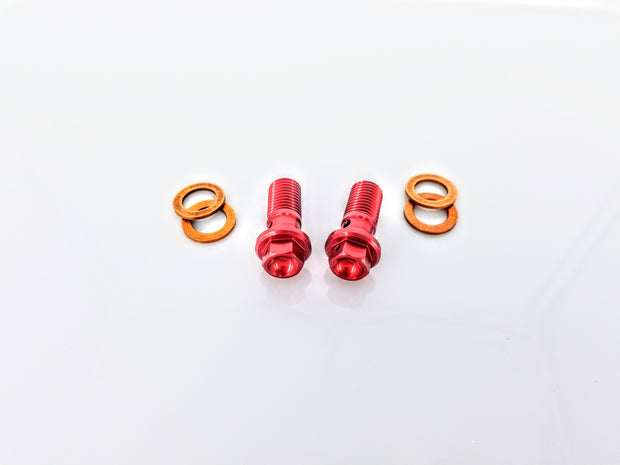 Billet Red Banjo Bolts - No Logo (Pair)