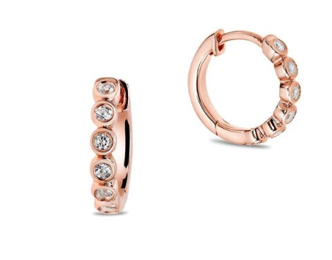 bezel diamond huggie earrings