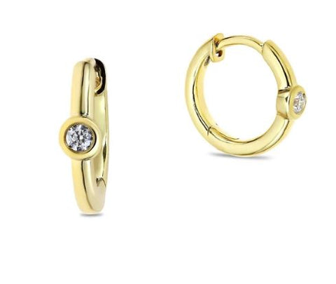 solitaire diamond hoops
