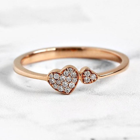 two diamond heart ring