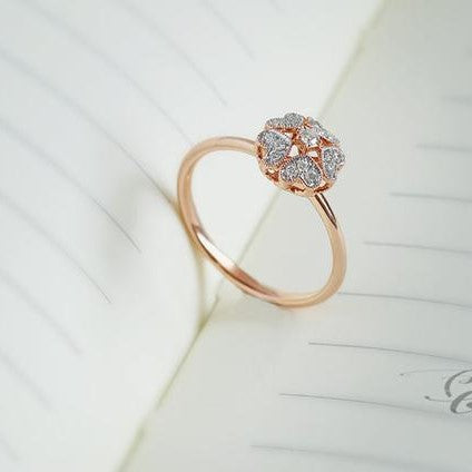 floral heart ring