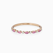 14k Gold Genuine Pink Sapphire Wedding Ring