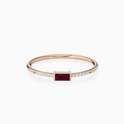 14k Dainty Ruby Diamond Gold Ring