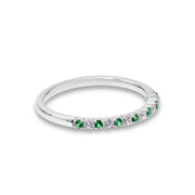 14k Thin Emerald And Diamond Wedding Band