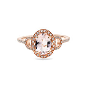 14K Peach Pink Morganite Engagement Ring