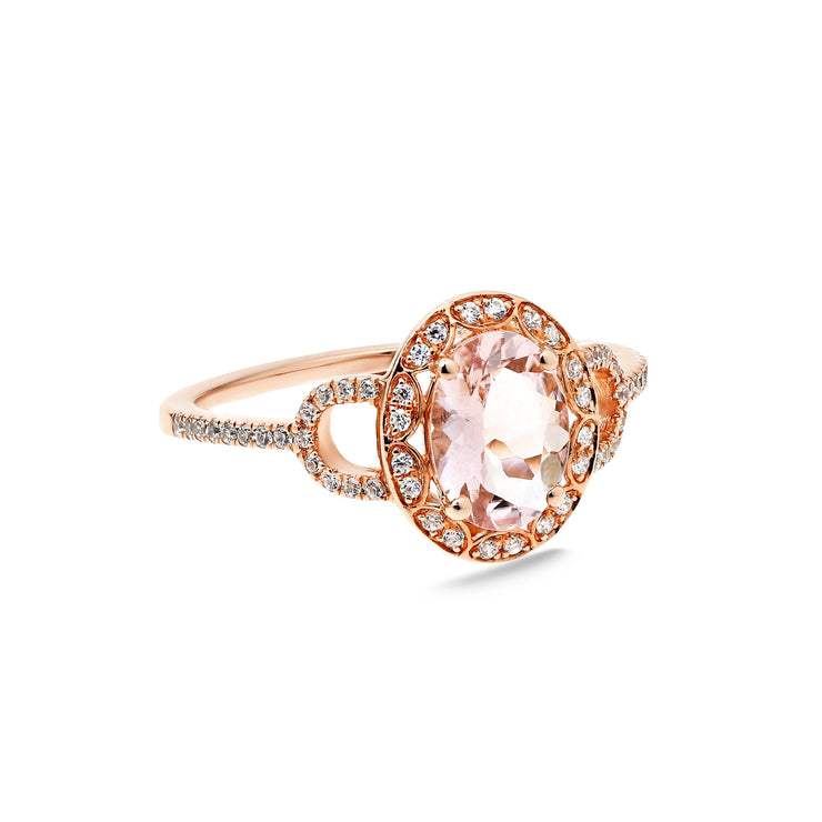 Oval Pink Morganite Ring