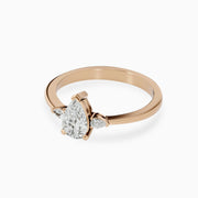 14k Three Stone Pear Shaped Diamond Ring