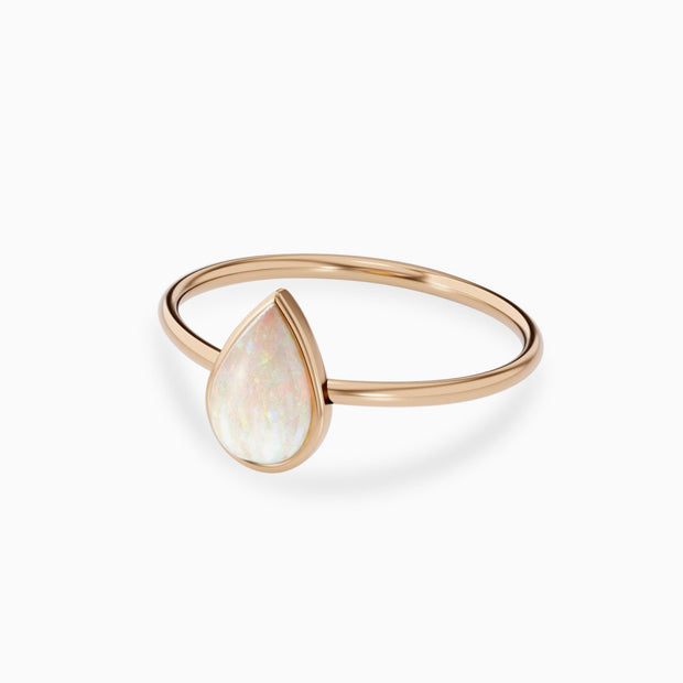 14k Gold 9x6mm Pear Shaped Opal Ring