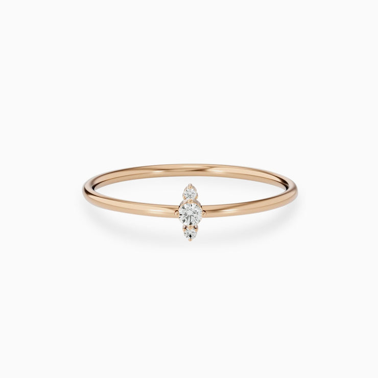 14k Three Stone Promise Diamond RIng