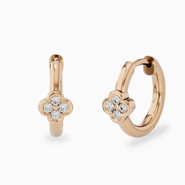 14k Flower Diamond Hoops