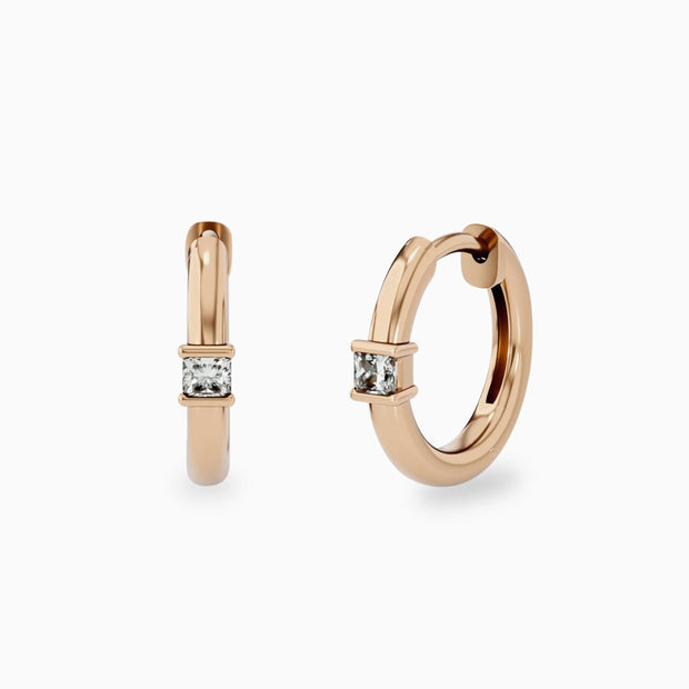 14k Simple Diamond Hoop Earrings