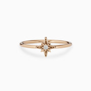14k Thin Star Single Diamond Ring