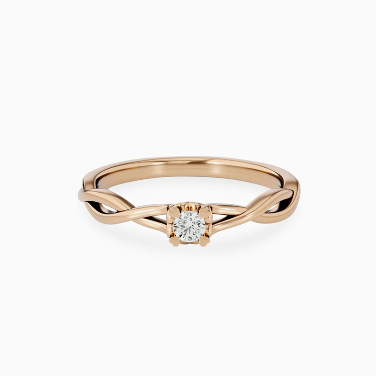 14k Gold Unique Engagement Ring With Diamonds