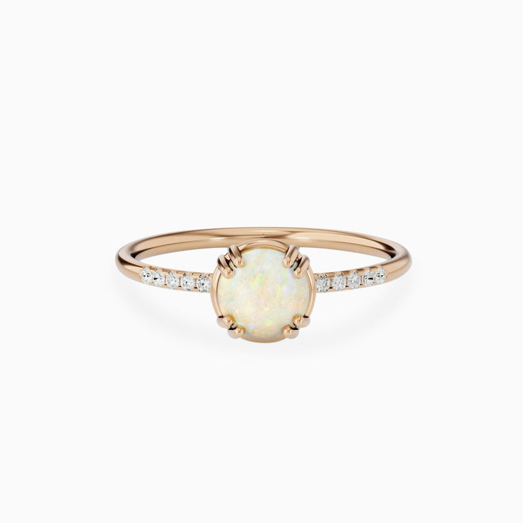 14K Opal Stone And Small Diamond Engagement Ring