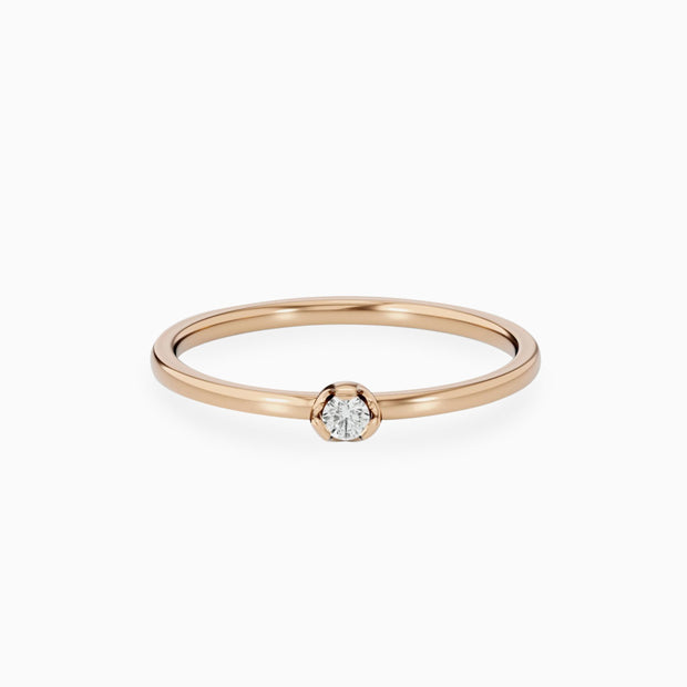 14k Gold Small Diamond Engagement Ring