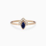 14k Gold Blue Sapphire And Diamond Engagement Ring