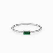 14k Baguette emerald cut diamond ring